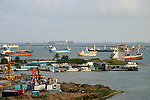 Colon, Panana is the Caribbean port city that is a gateway to the Panama Canal...Caribbean, Central America, Panama Canal, Colon, Panama, harbor, shipping, freighters.