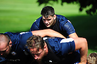 David Sisi of Bath Rugby looks on at a scrum. Bath Rugby pre-season training session on August 9, 2016 at Farleigh House in Bath, England. Photo by: Patrick Khachfe / Onside Images