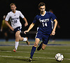David Abikzer #14 of Hewlett chases down a pass during the second half of a Nassau County Conference A-3 varsity boys soccer game against Jericho at Hewlett High School on Wednesday, Oct. 10, 2018. Hewlett won by a score of 4-2.