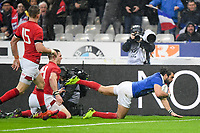 Yoann Maestri of France scores a try during the NatWest Six Nations match between France and Wales on February 1, 2019 in Paris, France. (Photo by Anthony Dibon/Icon Sport)