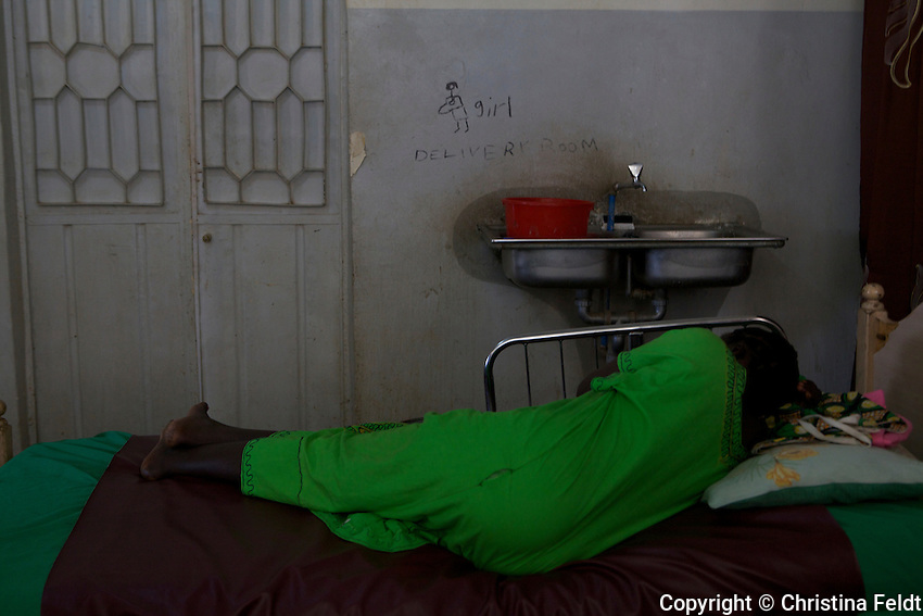 UNFPA South Sudan supports human capacity building in the health sector. Woman about to give birth in the maternity unit of Muniki health centre.