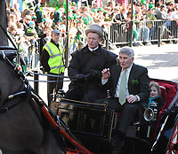 Killarney parade Grand Marshall Mick O'Dwyer looks visibly shaken after the horse is spooked  as he arrives by traditional jaunting car  in the St. Patrick's day parade in Killarney on Tuesday.<br /> Picture by Don MacMonagle
