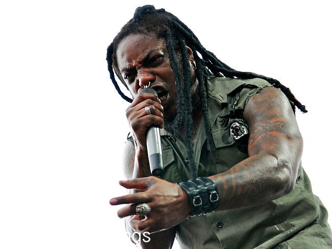 Lajon Witherspoon of Sevendust performs at Rock on the Range in Columbus, Ohio on May 22, 2010.