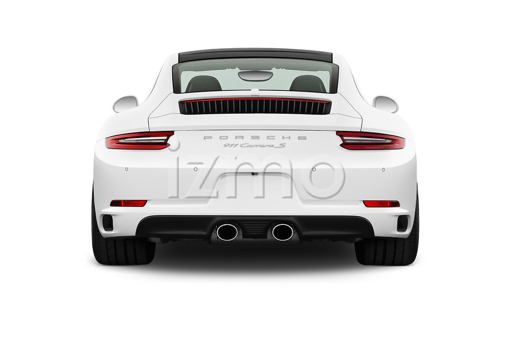 Straight rear view of a 2017 Porsche 911 Carrera S 2 Door Coupe stock images
