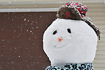 This snowman sports a St. Louis Cardinals hat in the yard of Brennan and Gina Hartin of Belleville on Saturday morning January 12, 2019. Brennan Hartin shoveled the snow from his McKinley Avenue driveway and used it to make the snowman for their daughter Johanna Hartin, 6. People were busy digging out -- and some were having fun -- after a major snowstorm hit the St. Louis metropolitan region. <br /> Photo by Tim Vizer
