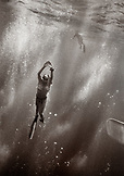 CAYMAN ISLANDS, Grand Cayman, Canadien National freediving team practices for competition in the Caribbean Sea (B&W)