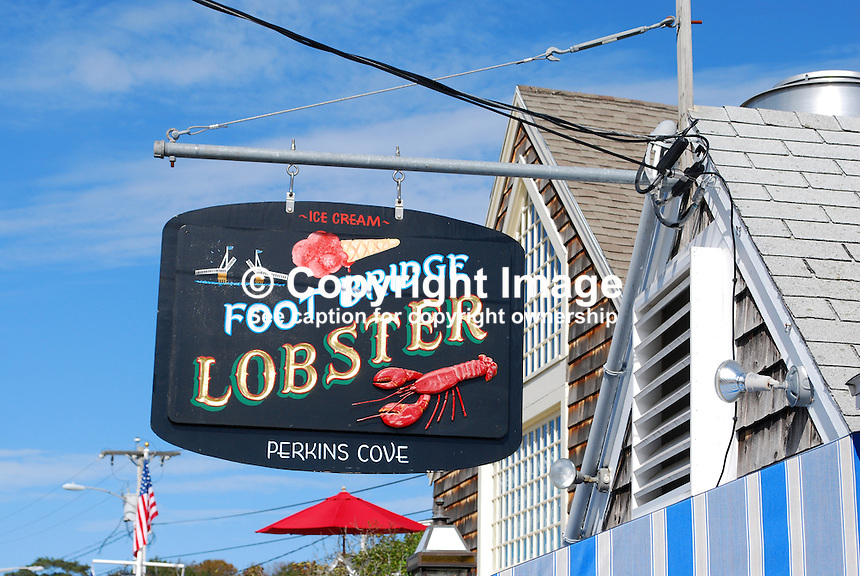 Perkin's Cove, near Ogunquit, Maine, USA, signage, Footbridge Lobster, restaurant, 201110115137..Copyright Image from Victor Patterson, 54 Dorchester Park, Belfast, United Kingdom, UK...For my Terms and Conditions of Use go to http://www.victorpatterson.com/Victor_Patterson/Terms_%26_Conditions.html