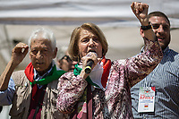 """Tina Costa & Arnaldo """"Nando"""" Cavaterra (Antifascist Partizans. Members of the Partigiani: the Italian Resistance during WWII).<br /> <br /> Rome, 25/04/2018. Today, to mark the 73rd Anniversary of the Italian Liberation from nazi-fascism ('Liberazione'), ANED Roma & ANPI Roma (National Association of Italian Partizans) held a march ('Corteo') from Garbatella to Piazzale Ostiense where a rally took place attended by Partizans, Veterans and politicians – including the Mayor of Rome and the President of Lazio's Region. From the organisers Facebook page:<<For the 25th of April, the 73rd Anniversary of the Liberation of Italy from nazi-fascism, while facing new threats to the world peace, it is necessary to remember that the Fight for Liberation triggered the greatest, positive, 'break' of the whole modern age of the Italian history. The Fight for the Liberation was supported by a great solidarity of the people. The memory of those who in the partizan struggle, in the camps of imprisonment, internment or extermination, opposed - even until the sacrifice of life - the dictatorship, the greed of territorial conquests, crazy ideologies of race supremacy, constitutes concrete warning against any attempt to undermine the foundations of the free institutions born of the Resistance. Memory is not an instrument of hatred or revenge, but of unity in a spirit of harmony without discriminations...<br /> (For the full caption please read the PDF attached at the the beginning of this story).<br /> <br /> For more info please click here: https://bit.ly/2vOIfNf & https://bit.ly/2r4iJy3 & http://www.anpi.it<br /> <br /> For the Wikipedia's page of the 'Liberazione' please click here: https://en.wikipedia.org/wiki/Liberation_Day_(Italy)<br /> <br /> For a Video of the event by Radio Radicale please click here: https://www.radioradicale.it/scheda/539534/manifestazione-promossa-dallanpi-in-occasione-della-73a-festa-della-liberazione"""