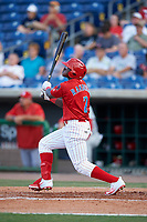 Clearwater Threshers left fielder Cornelius Randolph (2) follows through on a swing during a game against the Palm Beach Cardinals on April 14, 2017 at Spectrum Field in Clearwater, Florida.  Clearwater defeated Palm Beach 6-2.  (Mike Janes/Four Seam Images)