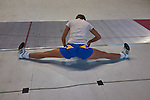 30.7.2015, Berlin Olympic Park. Competitions during the 14th European Maccabi Games. Fencing practice. A Ukrainian fencer warms up before practice