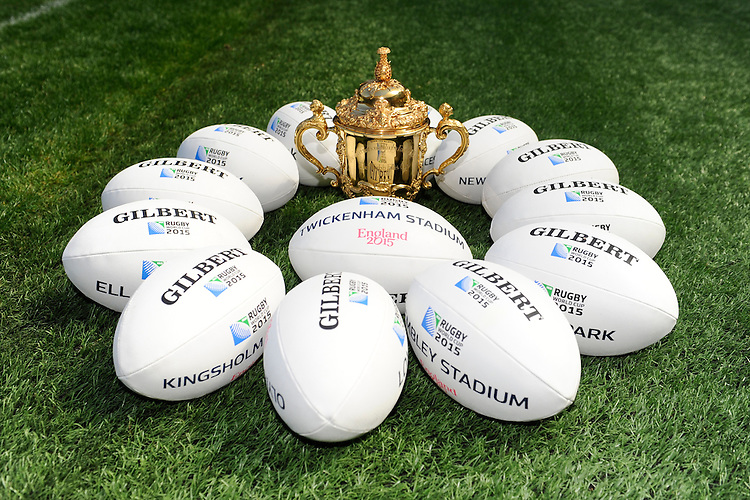 The Webb Ellis Trophy and Gilbert match balls during the Rugby World Cup 2015 Venues and Match Schedule Launch at Twickenham Stadium on Thursday 2nd May 2013 (Photo by Rob Munro)