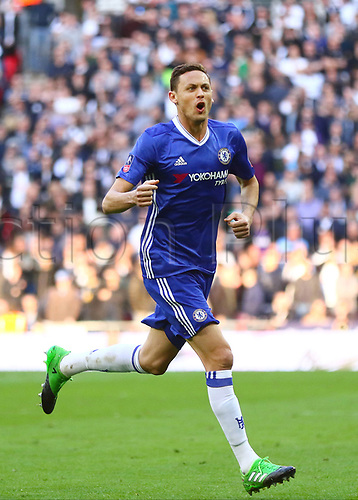 April 22nd 2017, Wembley Stadium, London England;  Emirates FA Cup semi-final Chelsea versus Tottenham Hotspur; Nemanja Matic of Chelsea celebrates his 80th minute goal, 4-2 Chelsea
