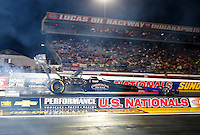 Sep 2, 2016; Clermont, IN, USA; NHRA top fuel driver Pat Dakin during qualifying for the US Nationals at Lucas Oil Raceway. Mandatory Credit: Mark J. Rebilas-USA TODAY Sports