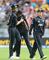 Blackcaps Tim Southee congratulates Ish Sodhi during the third ODI cricket match between the Blackcaps & England at Westpac stadium, Wellington. 3rd March 2018. © Copyright Photo: Grant Down / www.photosport.nz