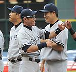 (L-R) Hiroki Kuroda, Ichiro Suzuki, Masahiro Tanaka (Yankees),<br /> APRIL 1, 2014 - MLB :<br /> Ichiro Suzuki of the New York Yankees gets a fist-bump from his teammate during introductions before the baseball game against the Houston Astros at Minute Maid Park in Houston, Texas, United States. (Photo by AFLO)