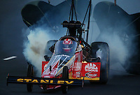Jul. 18, 2014; Morrison, CO, USA; NHRA top fuel driver Doug Kalitta blows an engine during qualifying for the Mile High Nationals at Bandimere Speedway. Mandatory Credit: Mark J. Rebilas-