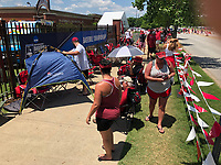 NWA Democrat-Gazette/ANDY SHUPE<br /> Arkansas fans begin finding their place in line Saturday, June 8, 2019, outside the Hog Pen to wait for the start of Sunday's game during the ninth inning of the Razorbacks' 11-2 win in Game One of the NCAA Super Regional game at Baum-Walker Stadium in Fayetteville. Visit nwadg.com/photos to see more photographs from the game.
