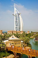 Dubai.  Burj al Arab Hotel, Al Qasr Hotel and Mina A'Salam Hotel at the Madinat Jumeirah.  Chefs on bridge. .