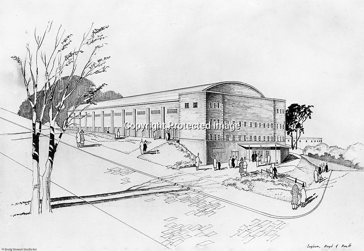 Pittsburgh PA:  An Ingham, Boyd and Pratt rendering of the proposed University of Pittsburgh Field House - 1950. Ingham, Boyd and Pratt were one of the premier architects in Pittsburgh that did a lot of work for Universities, hospitals and local school districts in the Pittsburgh area.