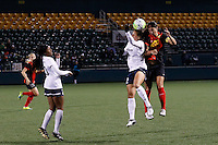 Rochester, NY - Friday April 29, 2016: Washington Spirit forward Katie Stengel  (12) and Western New York Flash defender Abby Erceg (6). The Washington Spirit defeated the Western New York Flash 3-0 during a National Women's Soccer League (NWSL) match at Sahlen's Stadium.