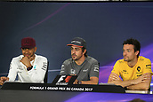 June 8th 2017, Montreal, Canada; Formula 1 Grand prix of Canada, driver press conference;  Lewis Hamilton - Mercedes AMG Petronas F1 Team, Fernando Alonso - McLaren Honda  and Jolyon Palmer - Renault Sport F1 Team