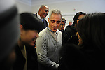 Rahm Emanuel greets his supporters at the opening of his first field office for his campaign for Chicago mayor in the South Side neighborhood of Hyde Park in Chicago, Illinois on December 11, 2010.