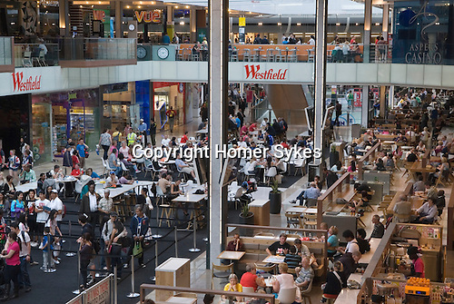 Westfield Shopping Centre Stratford City East London Olympic crowds in the World Food Hall 2012