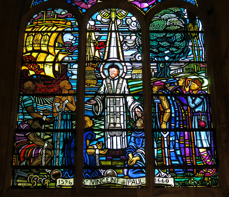 VMI Vincentian Heritage Tour: Saint Vincent de Paul talking to the slaves in a stained-glass window at the Church of Saint-Laurent Thursday, June 23, 2016. The site is home to many artifacts highlighting the life of Saint Vincent de Paul. (DePaul University/Jamie Moncrief)