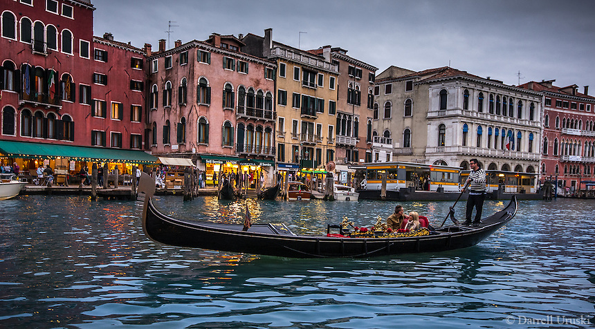 Fine, Art, Landscape Photograph, Gondolier,  down one of the romantic canals in Venice Italy.