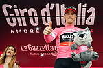 Rohan Dennis (AUS) BMC Racing Team retains the race leaders Maglia Rosa on the podium at the end of Stage 5 of the 2018 Giro d'Italia, running 153km from Agrigento to Santa Ninfa (Valle del Belice), Sicily, Italy. 9th May 2018.<br /> Picture: LaPresse/Gian Mattia D'Alberto | Cyclefile<br /> <br /> <br /> All photos usage must carry mandatory copyright credit (&copy; Cyclefile | LaPresse/Gian Mattia D'Alberto)