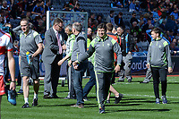 17-1-2017: Kery County Board chairman Tim Murphy congratulates team manager Peter Keane after the All-Ireland Football final at Croke Park on Sunday.<br /> Photo: Don MacMonagle
