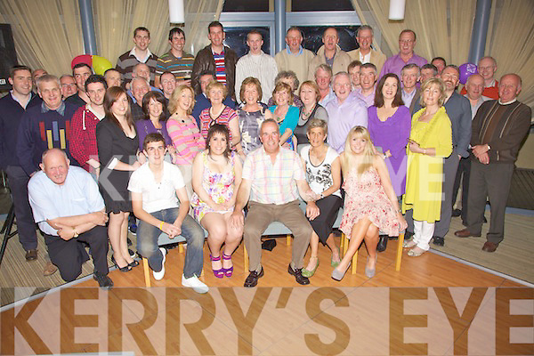 Brendan Griffin from Ardfert, seated centre having a wonderful time with friends, family and former colleagues at his early retirement party held in The Ballyroe Heights Hotel on Friday night after 34 years with the ESB..