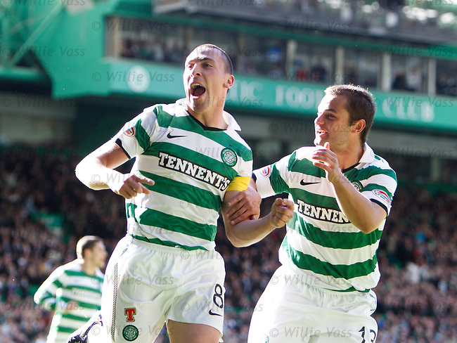 Scott Brown celebrates his goal for Celtic with Sean Maloney