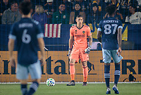 CARSON, CA - MARCH 07: GK David Bingham #1 of the Los Angeles Galaxy during a game between Vancouver Whitecaps and Los Angeles Galaxy at Dignity Health Sports Park on March 07, 2020 in Carson, California.