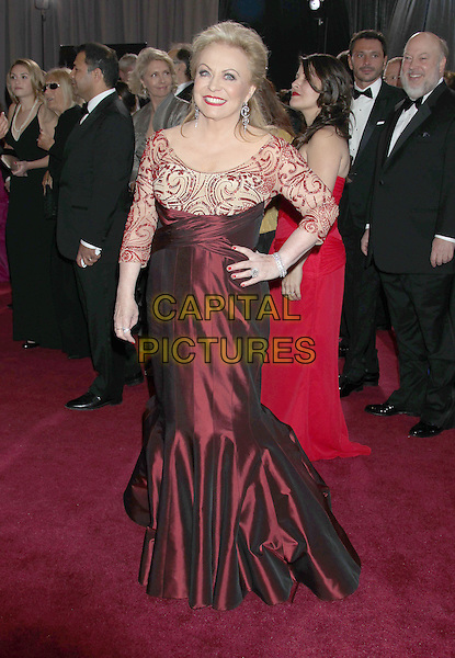 Jacki Weaver.85th Annual Academy Awards held at the Dolby Theatre at Hollywood & Highland Center, Hollywood, California, USA..February 24th, 2013.oscars full length red silk satin lace dress hand on hip.CAP/ADM/RE.©Russ Elliot/AdMedia/Capital Pictures.