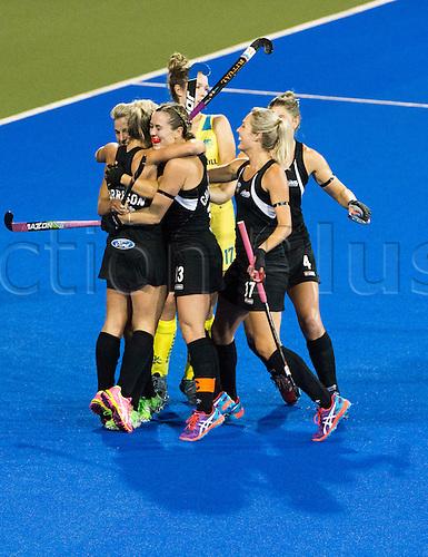 09.04.2016. Hastings, New Zealand.  New Zealand celebrate a goal  from Charlotte Harrison. NZL Black Sticks Women versus  Australia. Semi final, Festival of Hockey, Unison Hockey turf, Hastings, New Zealand. Saturday, 09 April, 2016.