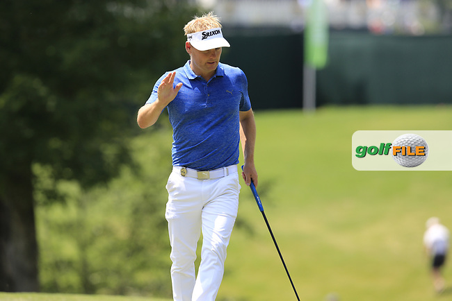 Soren Kjeldsen (DEN) putts on the 13th green during Thursday's Round 1 of the 2017 PGA Championship held at Quail Hollow Golf Club, Charlotte, North Carolina, USA. 10th August 2017.<br /> Picture: Eoin Clarke | Golffile<br /> <br /> <br /> All photos usage must carry mandatory copyright credit (&copy; Golffile | Eoin Clarke)
