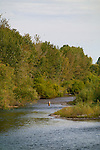 Fly fishing is popular on the Boise River which runs straight through downtown Boise, Idaho  This is a typical view from the Memorial Bridge in Boise.