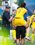 BRUXELLES (Belgium) -  Injured OU Zixia (China)     during Hockey World League women (semi final competition)  CHINA v SCOTLAND. COPYRIGHT KOEN SUYK