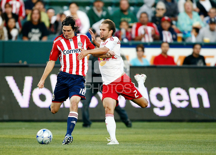 Chivas USA midfielder, Sacha Kljestan(16) and NY Red Bulls defender, Kevin Goldthwaite(2) battle for the ball during the 1st half. Chivas USA  took on the NY Red Bulls on June 28, 2008 at the Home Depot Center in Carson, CA. The game ended in a 1-1 tie.