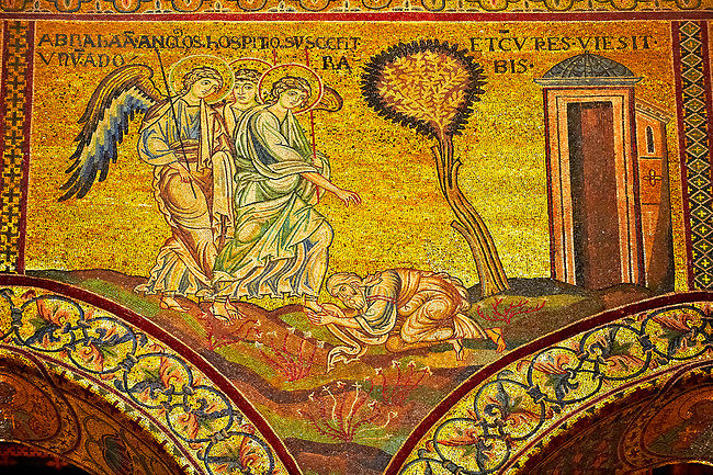 Medieval Byzantine mosaics of Angels appearing to Abraham, Monreale Cathedral, Sicily