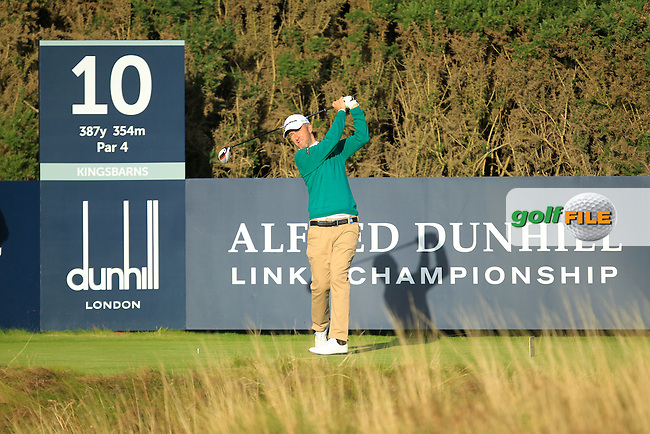 Mark Foster (ENG) during Round 1of the Alfred Dunhill Links Championship at Kingsbarns Golf Club on Thursday 26th September 2013.<br /> Picture:  Thos Caffrey / www.golffile.ie