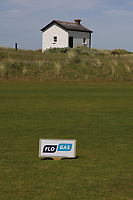 Flo-Gas tee marker on the 1st tee during the Flogas Am-Am at the Co. Sligo Golf Club, Rosses Point, Sligo, Ireland. 14/05/19<br /> <br /> Picture: Thos Caffrey / Golffile<br /> <br /> All photos usage must carry mandatory copyright credit (© Golffile | Thos Caffrey)