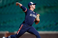 Pitcher Max Rajcic (8) during the Under Armour All-America Game, powered by Baseball Factory, on July 22, 2019 at Wrigley Field in Chicago, Illinois.  Max Rajcic attends Orange Lutheran High School in Fullerton, California and is committed to UCLA.  (Mike Janes/Four Seam Images)