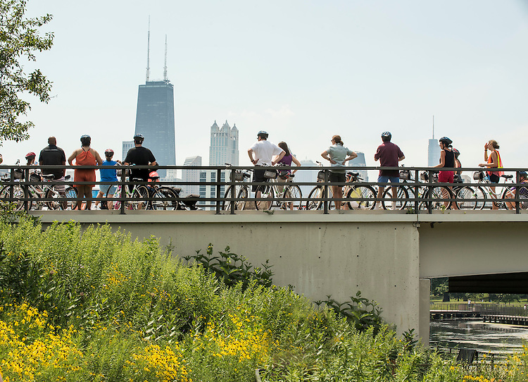 Lincoln Park Zoo bikers pause to look at the Chicago skyline. (DePaul University/Jamie Moncrief)