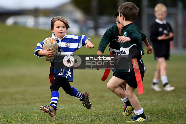 NELSON, NEW ZEALAND - AUGUST 15: Kids Rugby at Sport Park, Motueka on August 18, 2015 in Nelson, New Zealand. (Photo by: Chris Symes Shuttersport Limited)