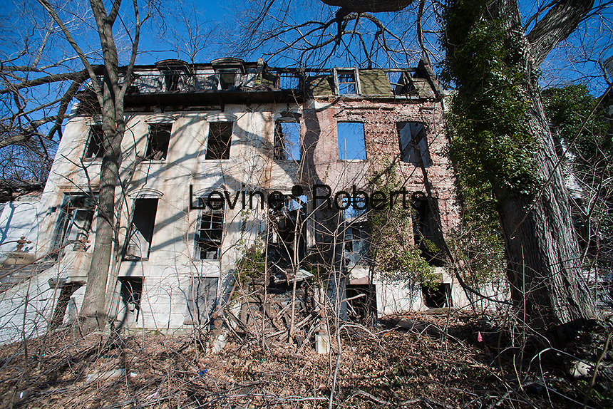 The 19th century houses in Admiral's Row in the Brooklyn Navy Yard are seen on Sunday, January 29, 2012. After many years of wrangling the federal government has finally handed over the buildings to the city with two of them to be restored while the other nine to be torn down for the construction of a much needed supermarket for the neighborhood. (© Richard B. Levine)
