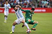 Seattle, WA - Tuesday June 14, 2016: Pedro Azogue, Sergio Aguero<br />  during a Copa America Centenario Group D match between Argentina (ARG) and Bolivia (BOL) at CenturyLink Field.