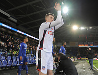 Bolton Wanderers' Josh Vela applauds the travelling fans as he walks onto the pitch<br /> <br /> Photographer Kevin Barnes/CameraSport<br /> <br /> The EFL Sky Bet Championship - Cardiff City v Bolton Wanderers - Tuesday 13th February 2018 - Cardiff City Stadium - Cardiff<br /> <br /> World Copyright &copy; 2018 CameraSport. All rights reserved. 43 Linden Ave. Countesthorpe. Leicester. England. LE8 5PG - Tel: +44 (0) 116 277 4147 - admin@camerasport.com - www.camerasport.com