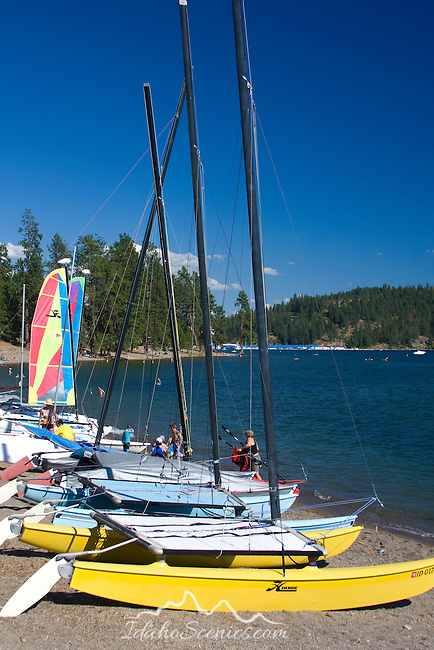 Sailing vessels for rent during the summer tourist season. Lake Coeur D Alene, Coeur D Alene, Idaho.